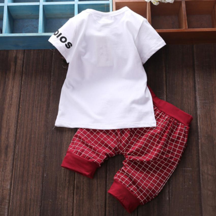 Amart Cotton Newborn Baby Infant Boy Clothes Sets T-shirt Top +Plaid Pants Outfits ...