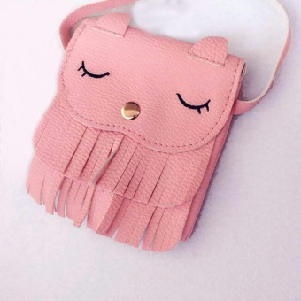 Amart Cute Tassel Small Cat Shoulder Messenger Bag Mini Coin Purses PU Leather Handbags Wallet