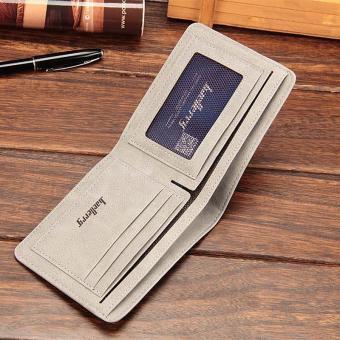 Amart Fashion dompet koin pria Korea dompet pendek kasual kulit PU warna Solid vintage wadah kartu uang - 4