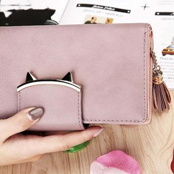 Amart Fashion dompet wanita kulit PU dompet panjang wadah koin kartu kredit dengan rumbai - 3