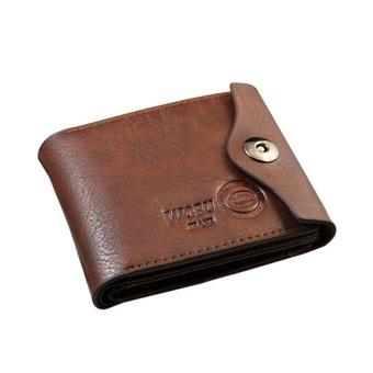 Amart Fashion Korean Men Short Coin Purse PU Leather Vintage Clutch Money Bag Card Holder Hasp