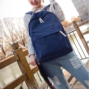 Amart Fashion ransel pria wanita Korea tas sekolah kanvas berkapasitas besar risleting ganda tali dapat disesuaikan