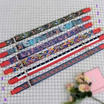 Amart Fashion sabuk tas wanita penuh warna katun tali bahu lebar pengait logam dapat disesuaikan untuk tas kurir - 2