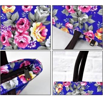 Amart Fashion tas kurir bahu wanita sederhana kanvas bercetak bunga beritsleting kapasitas besar - 2
