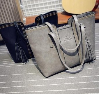Amart Lady tassel handbag New Arrival large volume Leather Casual Bag (Grey ) - intl - 4