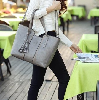 Amart Lady tassel handbag New Arrival large volume Leather Casual Bag (Grey ) - intl - 2