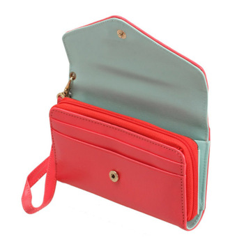 Amart Lovely Crown Clutches PU Leather Wallet Portable Mobile Phone Bag(Red) - intl - 5