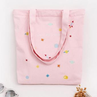 Amart lovely Embroidered Canvas Handbag Fresh Style Cotton Shopping Tote Bag Gift For girls - intl - 3