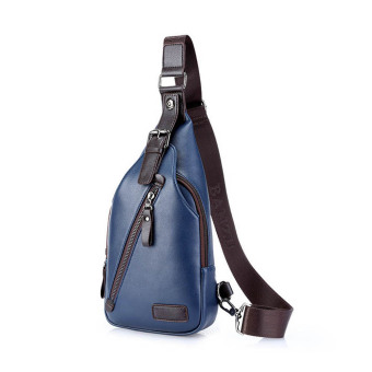 Amart Men Sport PU Leather Business Handbags Messenger Single Shoulder Crossbody Bags(Blue)