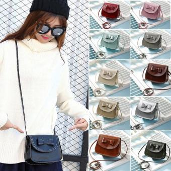Amart Mini busur tas wanita Fashion tas kopling Mobile Messengerbahu tas selempang (hijau tua)