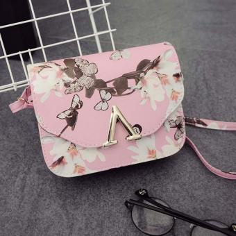 Amart PU Daffodil Handbag V Word Flap Bag Cross Body Shoulder Bag(Pink) - Intl