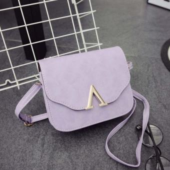 Amart PU Handbag V Word Flap Bag Girls Cross Body Shoulder Bag(Purple) - Intl