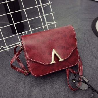 Amart PU Handbag V Word Flap Bag Girls Cross Body Shoulder Bag(Wine) - Intl