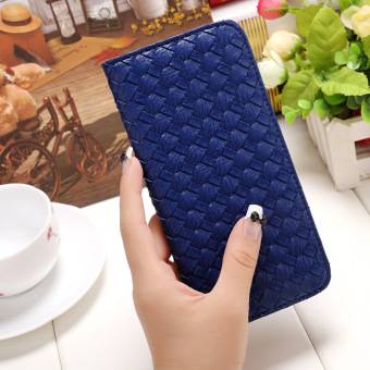 Amart PU Leather Clutch Wallets Hand Bag Change Purse Dark Blue) - Intl