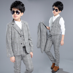Jas Kecil Anak Laki-laki Berkotak Inggris Satu Set Tiga Helai (Kemeja putih)