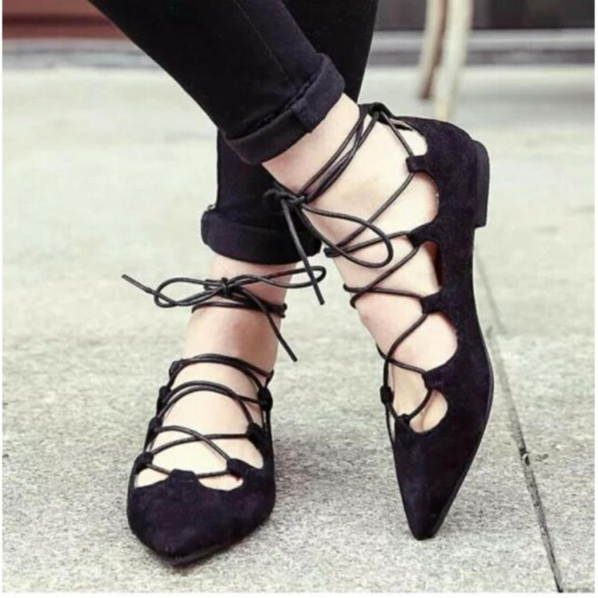 ... Arlaine Ballerina Eiffel Flat Shoes Black