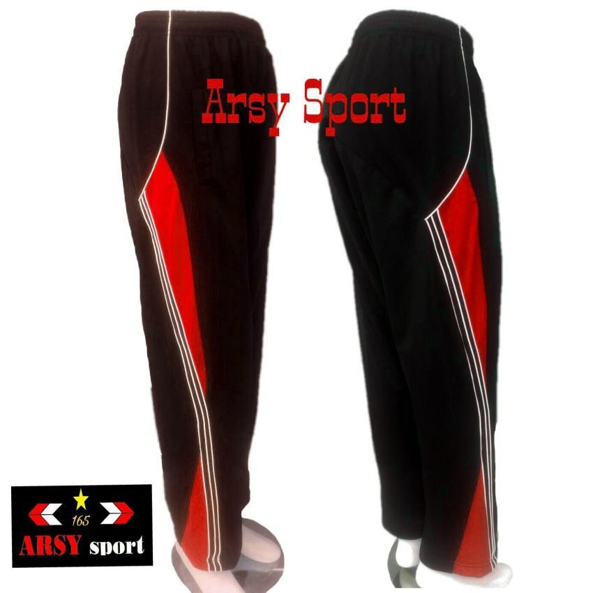 arsy collections celana training model lis 3 hitam merah