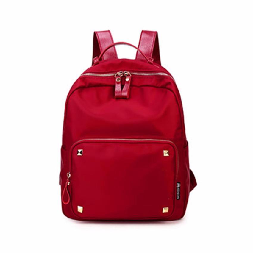 Atdiva Tas Ransel Fashion Import Unisex Four Stud Aksen - Merah