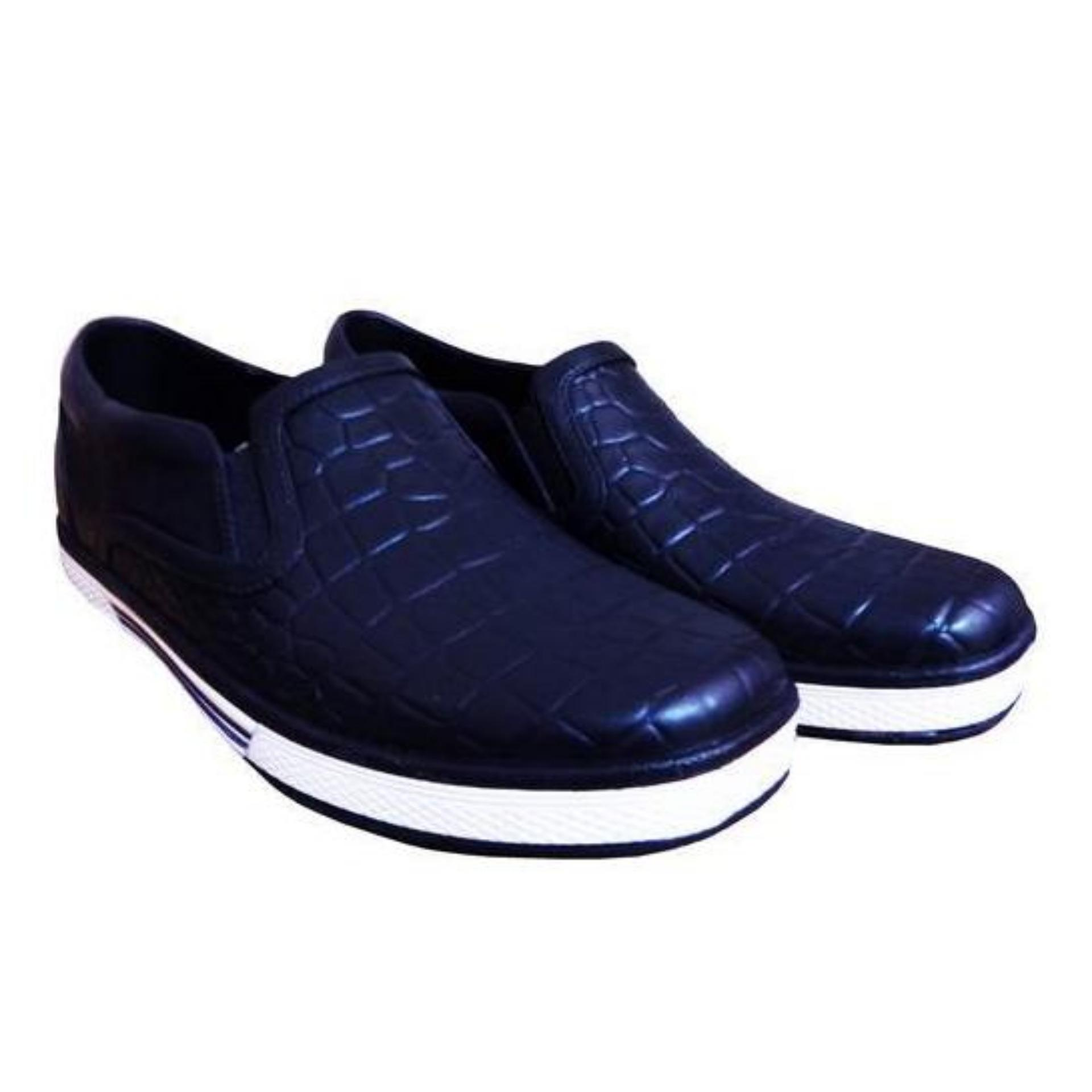 ATT Sepatu Pria BOS 1130 Biru Tua Slip On Sepatu Karet Motif KulitBuaya . e18501cb86