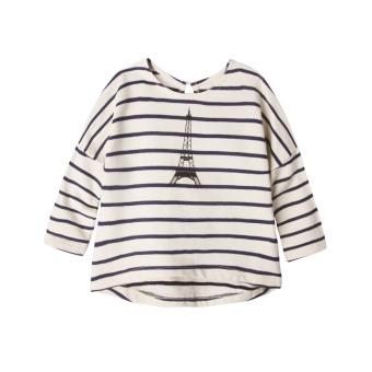 Augelute kapas bergaris leher bulat t-shirt Gadis Lengan Panjang t-shirt (Menara)