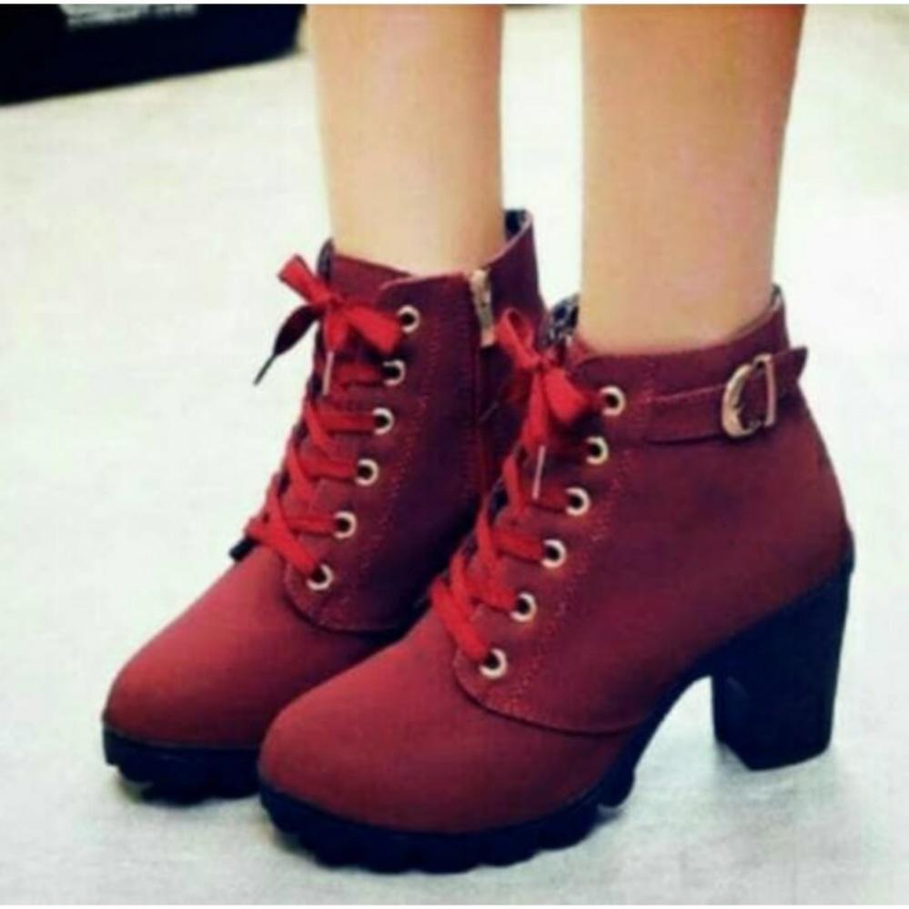 azkashoes Sepatu Boot Wanita Maroon ZPR01