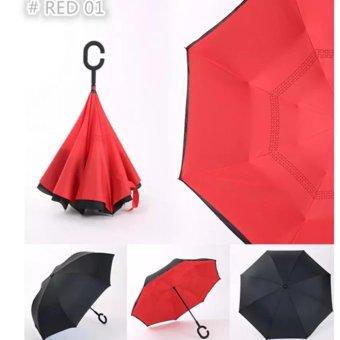 Babamu Payung Terbalik 2 lapis Gagang C Reverse Umbrella TombolMerah - Merah