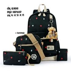 Backpack 4 in 1 Tulips (Backpack / Tas Ransel, Sling Bag / Tas Selempang, Pouch / Dompet, Pencil Case / Tempat Pensil) Black