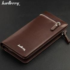 Baellerry Dompet Pria Fashion Import PU leather business long wallet with zipper - Coklat