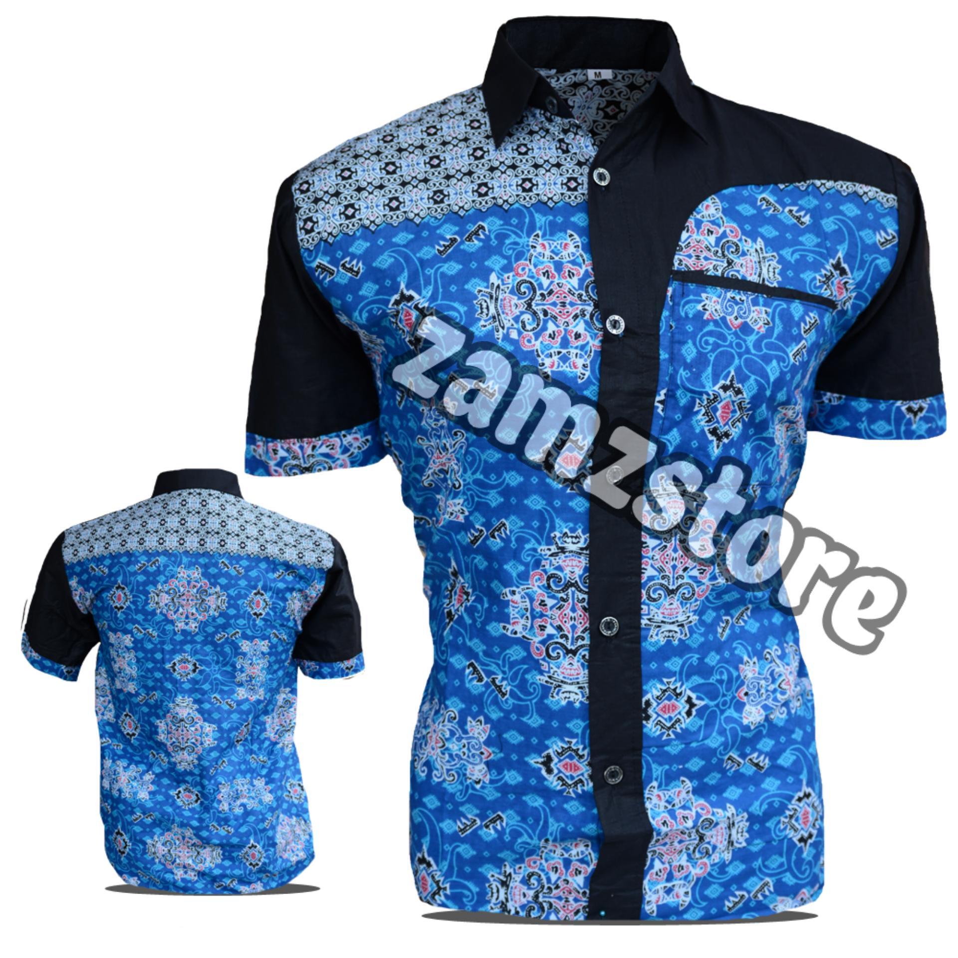 Desain Batik Kombinasi Polos Pria: MURAH SriKaWati Fashion Baju Kemeja Hem Atasan Katun Batik