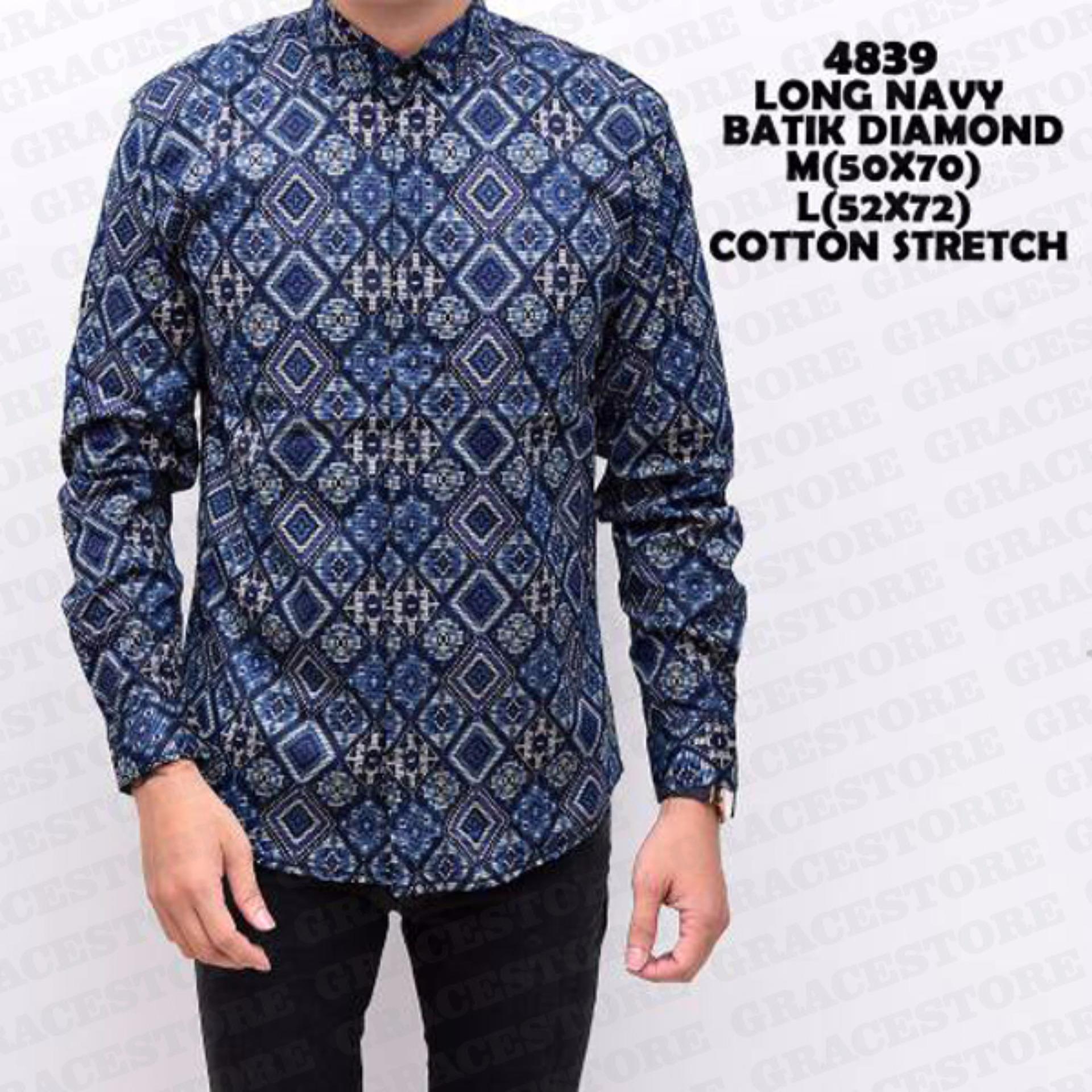 Adem dan nyaman dipakai Baju Batik Pria Lengan Panjang Kemeja Batik Pria Batik Long Biru Diamond Batik