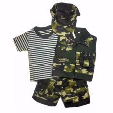 Baju Bayi Setelan Rompi Pisah + Topi Tentara - Cool Army NO.4