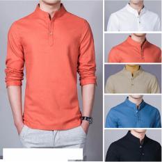 Baju Kemeja Koko Shaquille Polos Orange Premium
