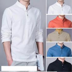Baju Kemeja Koko Shaquille Polos Putih Premium