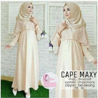 harga Baju Original Cape Maxi Dress Gamis Muslimah Syari Baju Panjang Wanita Hijab Trendy Pakaian Cewek Modern Cream Lazada.co.id