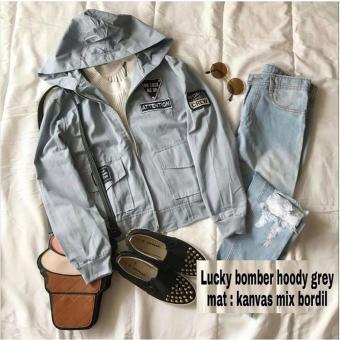 Baju Original Lucky Bomber Hoddy Kanvas Sweater Babyterry Muslimah Jaket Casual Atasan Wanita Grey