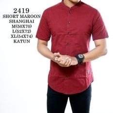 Baju Polos Pria Lengan Pendek Maroon / Kemeja SlimfitIDR135000. Rp 135.000