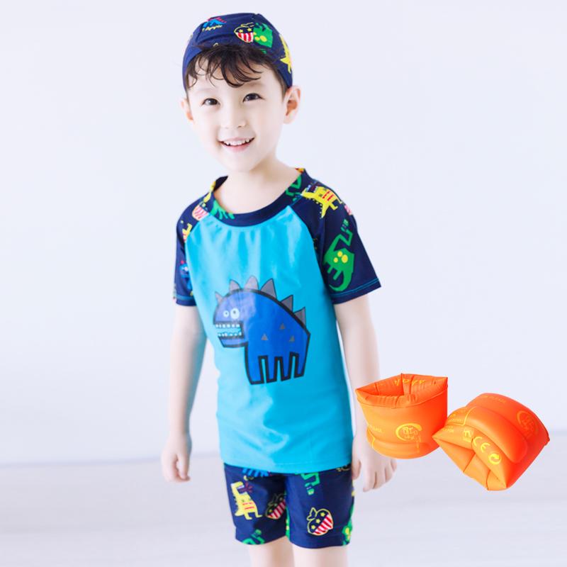 Baju Renang Model Terpisah Balita Anak Kecil Anak Besar Dinosaurus (Biru (dengan topi)