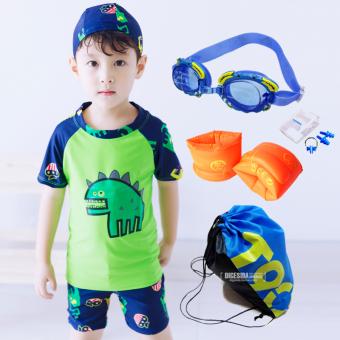 Baju Renang Model Terpisah Balita Anak Kecil Anak Besar Dinosaurus (Hijau (dengan topi)