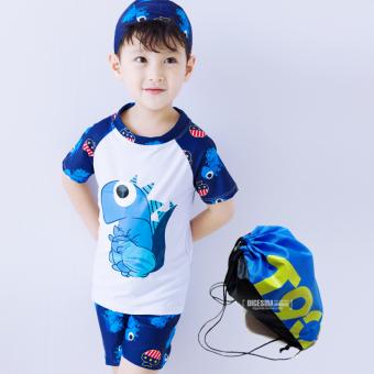 Baju Renang Model Terpisah Balita Anak Kecil Anak Besar Dinosaurus (Putih (dengan topi)