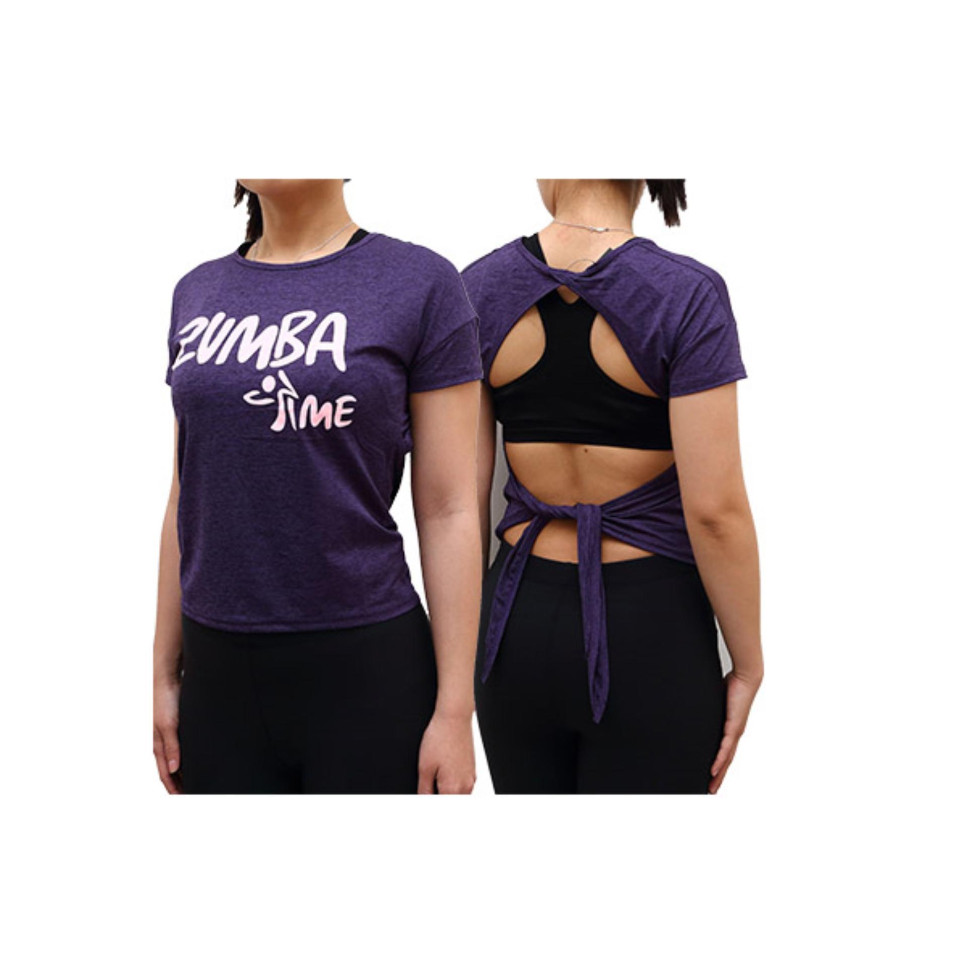 Online Murah Baju Senam Zumba Kaos Aerobik Fitness Gym 2016 Purple Aerobic