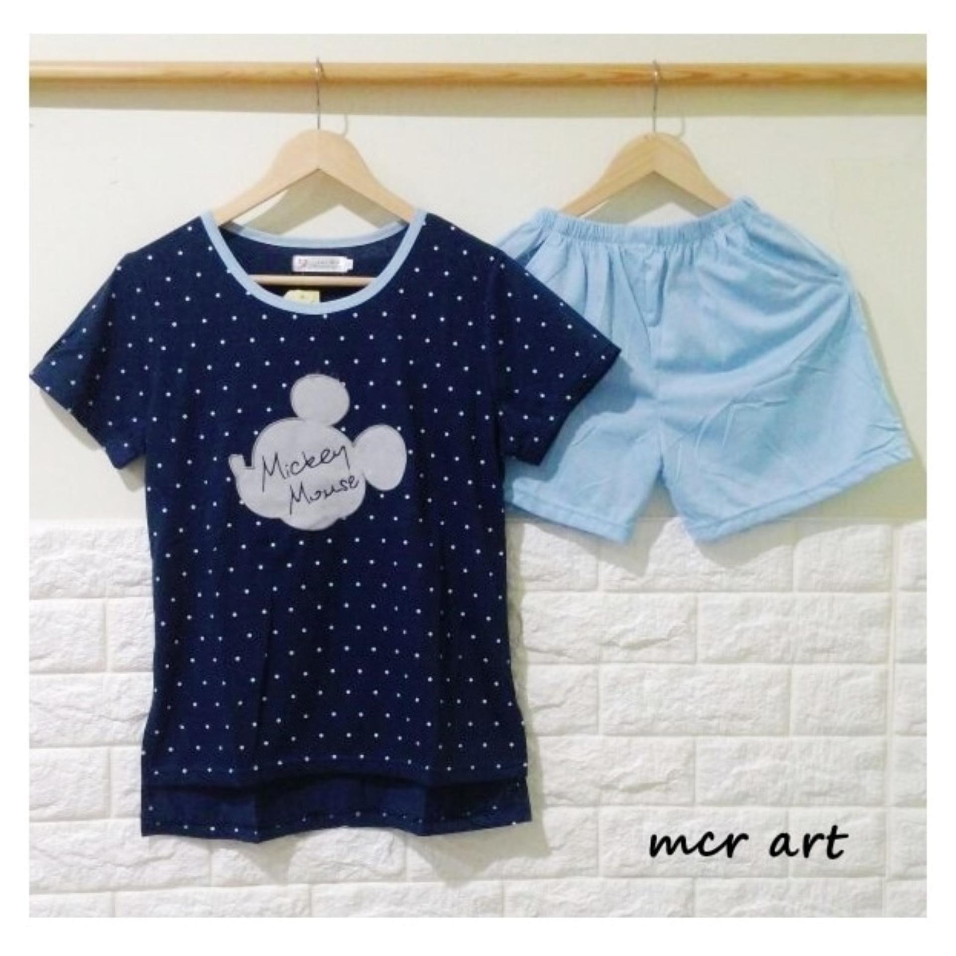 Baju Tidur Wanita Piyama Mickey Blue Dot