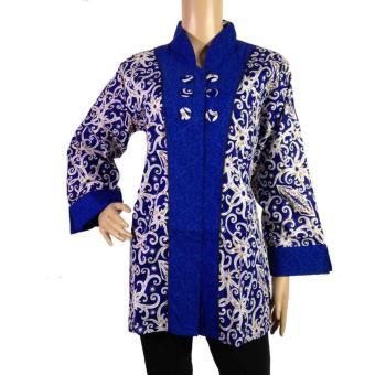 Jual Baju Wanita Batik Kerja Motif Kalimantan BLS4007 Biru Online ... afe0004af8