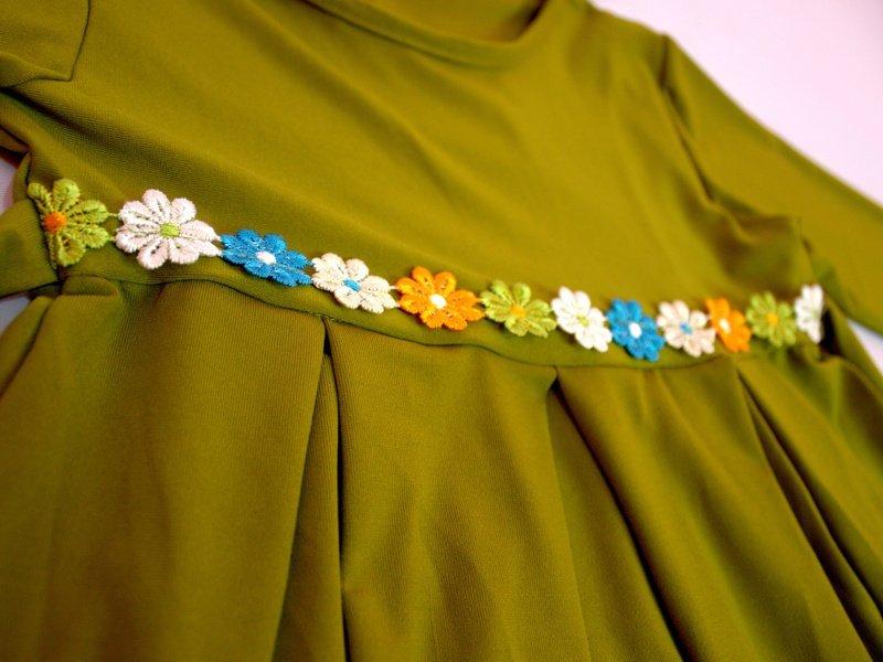 Jual Baju Yuli Gamis Anak Perempuan Simple Motif Bunga Hijau