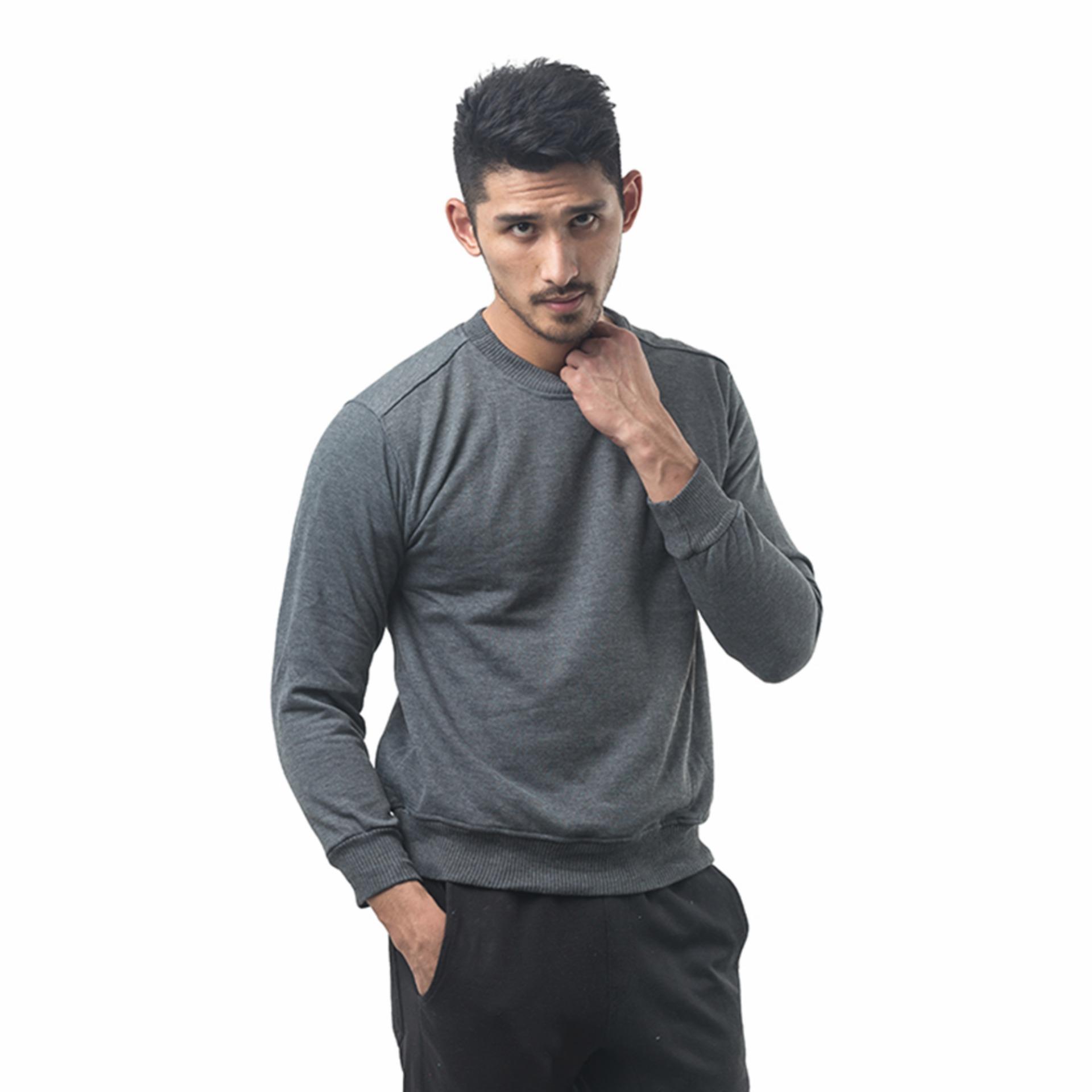 Bajukitaindonesia Jaket Basic Sweater Polos ABUTUA - M-XL