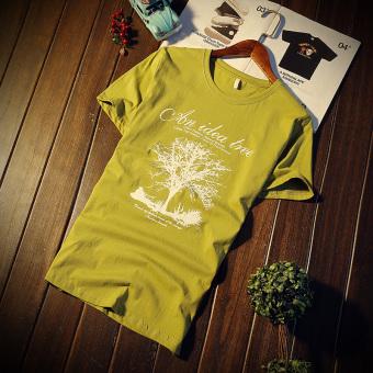 Gambar Baru lengan pendek t shirt remaja Slim t shirt (Pohon rumput hijau)