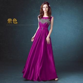 Bandingkan Toko Baru Mempelai Wanita Toast Perjamuan Gaun Malam Merah (Ungu) Harga Terendah