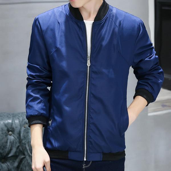 Baru musim gugur pria tampan jaket mantel versi Korea (Biru tua [padat])
