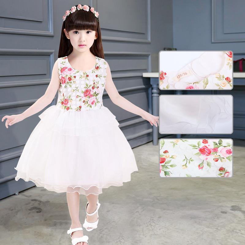 Baru perempuan anak anak besar lengan pendek gaun putri gadis gaun Putih .