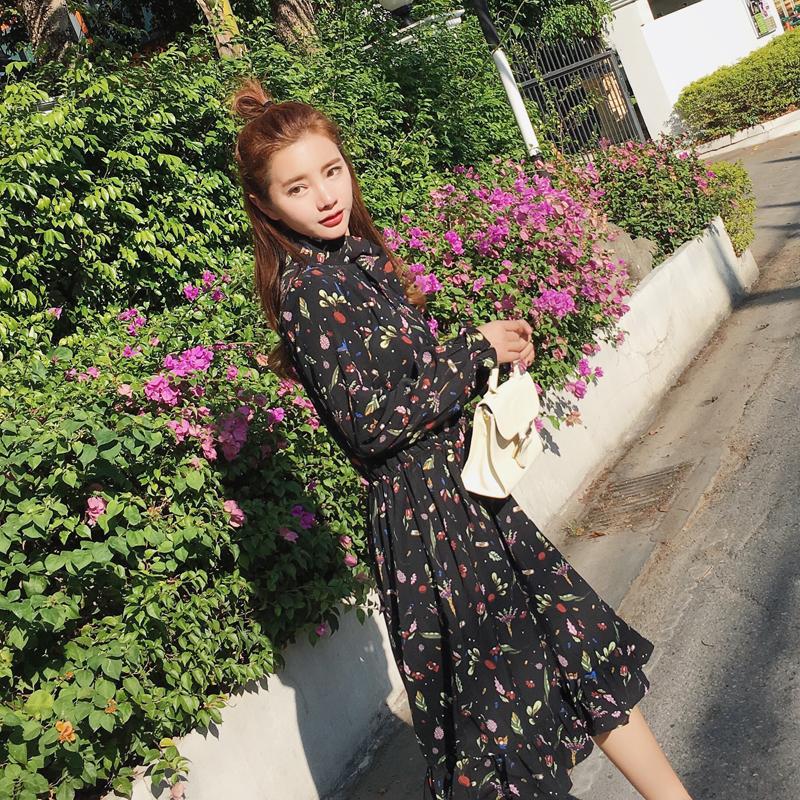 Baru perempuan lengan panjang bagian yang panjang dari versi Korea dari sifon gaun musim semi dan