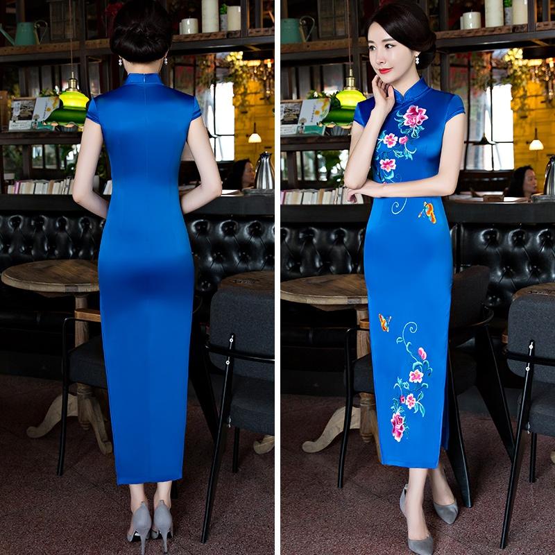 ... Kerah Rendah Lengan Panjang Source · Gaya Cina baru musim semi dan. Source · Baru retro bordir ditingkatkan gaun cheongsam tradisional Cina (Biru)